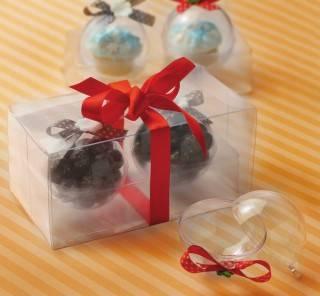 упаковку для штучных кондитерских изделий в виде новогодних шариков!