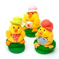 сахарные фигурки цыплята для декора кондитерских изделий