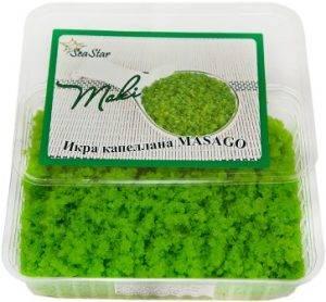 зеленая икра летучей рыбы маки масаго для роллов и японских блюд