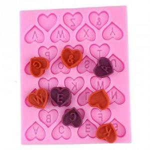 силиконовый молд для мастики и шоколада английский алфавит в сердечках