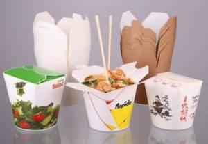 бумажные контейнеры для  лапши, салатов, деликатесов, доставки
