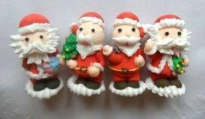 сахарные фигурки дед мороз 4 вида для декора новогодних тортов, пирожных, десертов