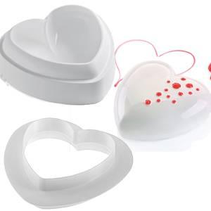 Набор тиамо: форма силиконовая сердце + вырубка для тортов, десертов, массовых десертов