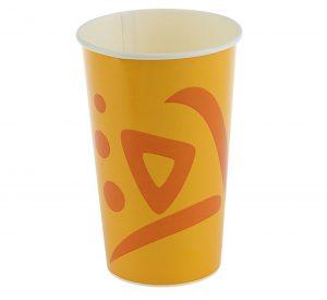 Бумажный стакан для холодных напитков, оранжевый (в ассортименте)